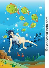 dziewczyna, pływacki, ocean