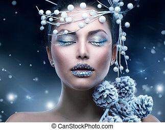 dziewczyna, piękno, makijaż, zima, woman., boże narodzenie