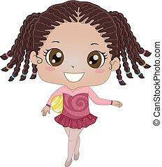 dziewczyna, piłka, gimnastyka, ilustracja, koźlę