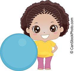 dziewczyna, piłka, ruch, ilustracja, koźlę