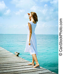 dziewczyna, pier., ocean, piękny