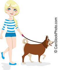 dziewczyna, pieszy pies
