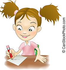 dziewczyna, pisanie, młody, biurko, jej