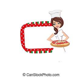 dziewczyna, pizza, służy, smakowity, piękny