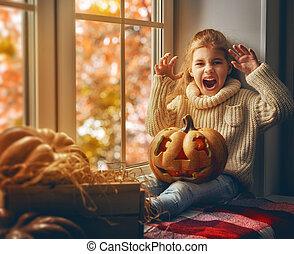 dziewczyna, po, halloween.