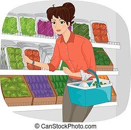dziewczyna, produkcja, sklep spożywczy, sekcja