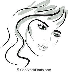 dziewczyna, projektować, face., piękno, elements.