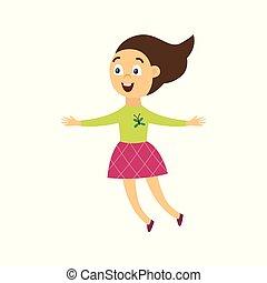dziewczyna, radosny, wektor, szczęśliwy, płaski, ilustracja, skokowy, isolated., radość, litera