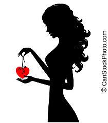 dziewczyna, serce, sylwetka