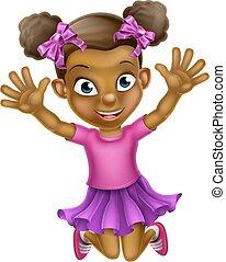 dziewczyna, skokowy, czarnoskóry, rysunek, szczęśliwy