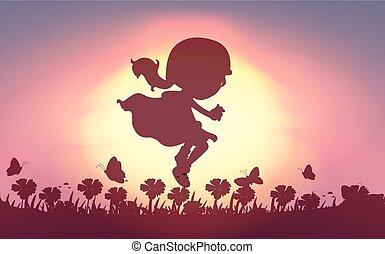 dziewczyna, skokowy, ogród