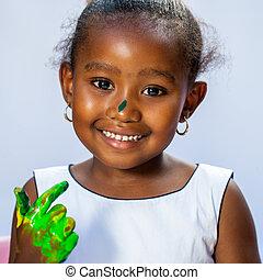 dziewczyna, sprytny, afrykanin, ręka., barwiony
