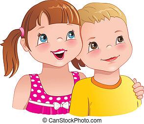 dziewczyna, sprytny, -, chłopiec, uśmiechanie się, uścisk, dzieciaki