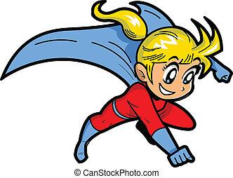 dziewczyna, superhero, anime, manga