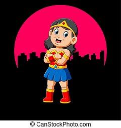dziewczyna, superhero, uśmiech