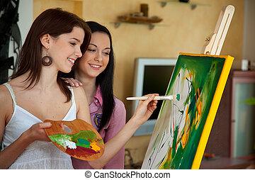 dziewczyna, sztaluga, malarstwo, młody