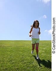 dziewczyna, trawa, szczęśliwy