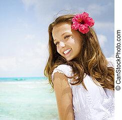 dziewczyna, tropikalny przesuw, urlop, pojęcie, resort., piękny