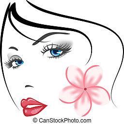 dziewczyna, twarz, piękno