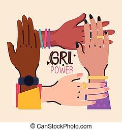dziewczyna, tytuł, moc, siła robocza, rozmaitość