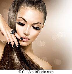 dziewczyna, włosiany fason, piękno, wzór, brązowy, zdrowy, długi
