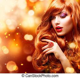 dziewczyna, włosiany fason, portrait., falisty, złoty, czerwony