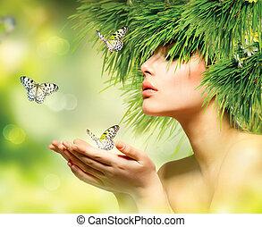 dziewczyna, włosy, makijaż, trawa, lato, woman., zielony, wiosna