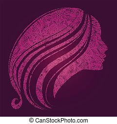 dziewczyna, włosy, piękny