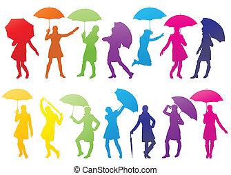 dziewczyna, wektor, parasol, abstrakcyjny