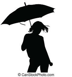 dziewczyna, wektor, parasol