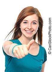 dziewczyna, widać, do góry, nastolatek, kciuki