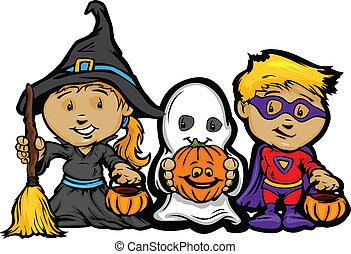 dziewczyna, wizerunek, halloween, dzieci, podstęp, wektor, pertraktować, dźwigarka-o-latarnie, albo, rysunek, szczęśliwy