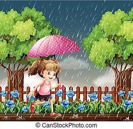 dziewczyna, wyścigi, deszcz