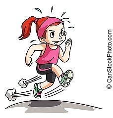 dziewczyna, wyścigi, odizolowany, w, ruch