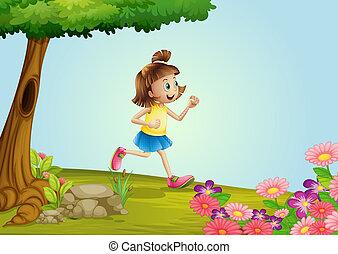 dziewczyna, wyścigi, ogród
