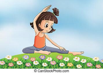 dziewczyna, yoga, ogród