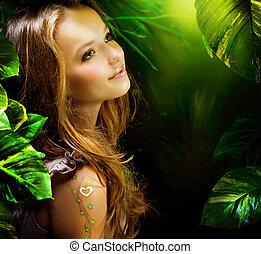 dziewczyna, zielony las, piękny, mistyczny