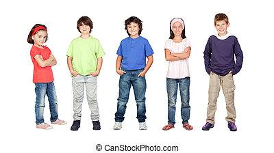 dziewczyny, dwa, trzy, chłopcy, dzieci, godny podziwu