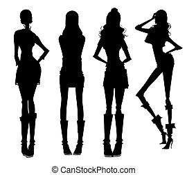 dziewczyny, nowoczesny, sylwetka