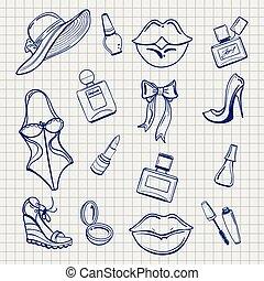 dziewczyny, rys, komplet, fason, elementy