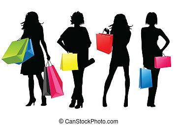 dziewczyny, sylwetka, zakupy