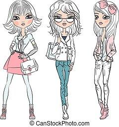dziewczyny, wektor, fason, piękny