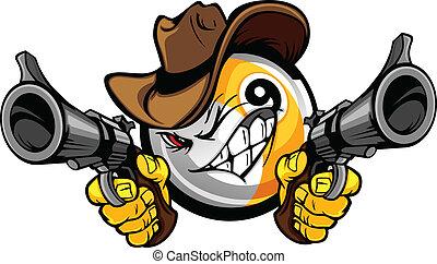 dziewięć piłki, kowboj, kałuża, rysunek, shootout, bilard