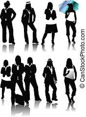 dziewięć, zły, kobiety, silhouettes., wektor