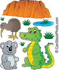 dziewiczość, australijski, komplet, fauna, 3
