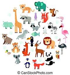 dziewiczość, komplet, zwierzęta, rysunek