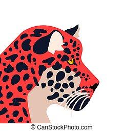 dziki, jaguar, odizolowany, tło, zwierzę