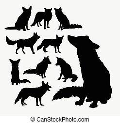 dziki, sylwetka, lis, zwierzę