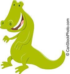 dziki, zabawny, litera, zwierzę, krokodyl
