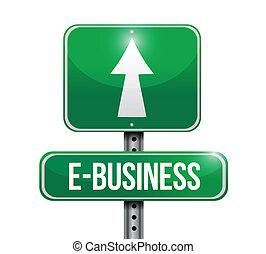 e-handlowy, projektować, droga, ilustracja, znak